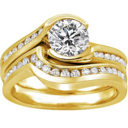 18K Yellow Gold Cascade with Channel Set Diamond Accents Matched Set (1/2 ct. tw.), top view