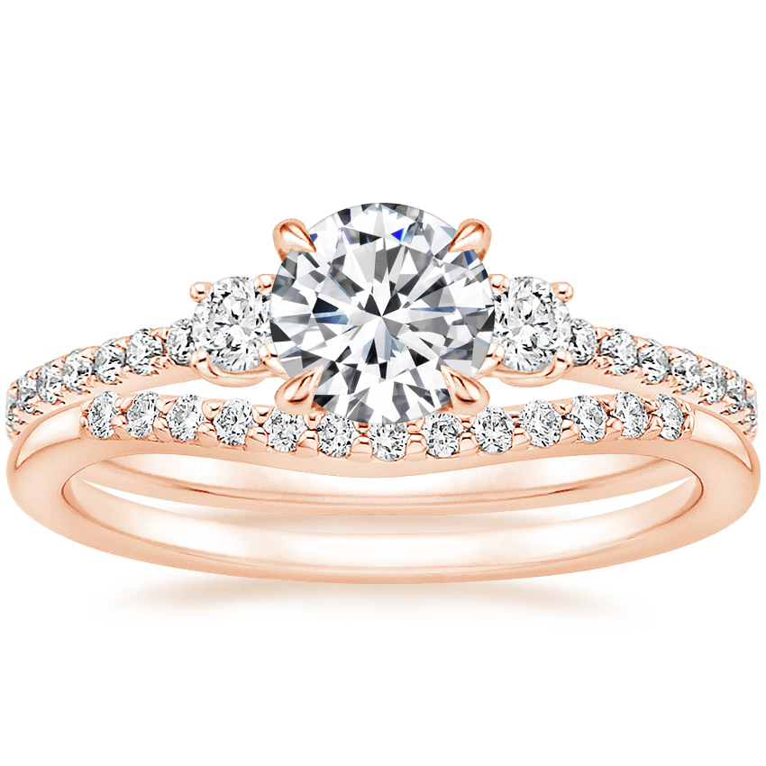 14K Rose Gold Lyra Diamond Ring (1/4 ct. tw.) with Petite Curved Diamond Ring (1/10 ct. tw.)