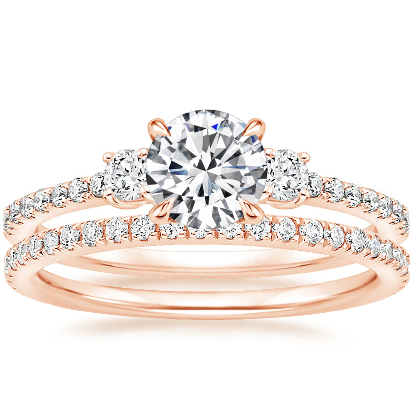 14K Rose Gold Lyra Diamond Ring (1/4 ct. tw.) with Luxe Ballad Diamond Ring (1/4 ct. tw.)