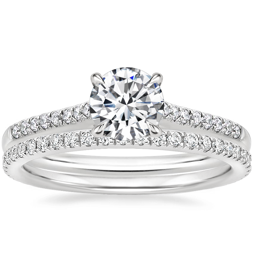 18K White Gold Lissome Diamond Ring (1/10 ct. tw.) with Luxe Ballad Diamond Ring (1/4 ct. tw.)