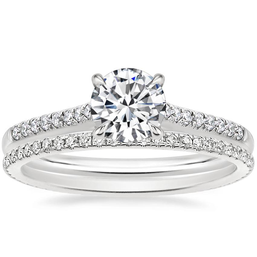 18K White Gold Lissome Diamond Ring (1/10 ct. tw.) with Whisper Eternity Diamond Ring (1/4 ct. tw.)