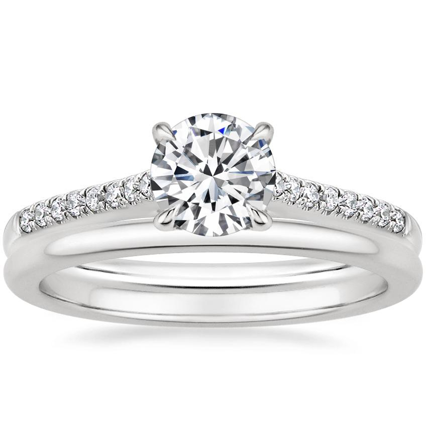 18K White Gold Lissome Diamond Ring (1/10 ct. tw.) with Petite Comfort Fit Wedding Ring