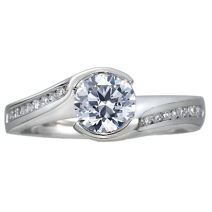 18K White Gold Cascade Ring with Channel Set Diamond Accents (1/4 ct. tw.), top view