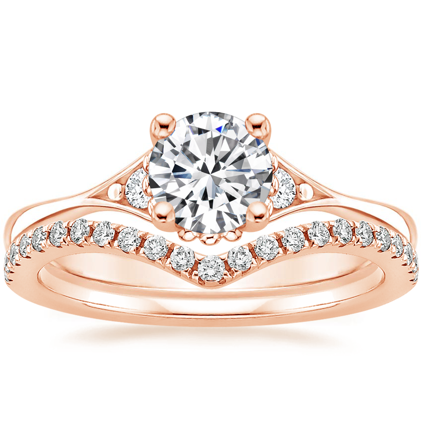 14K Rose Gold Dolce Diamond Ring with Flair Diamond Ring (1/6 ct. tw.)
