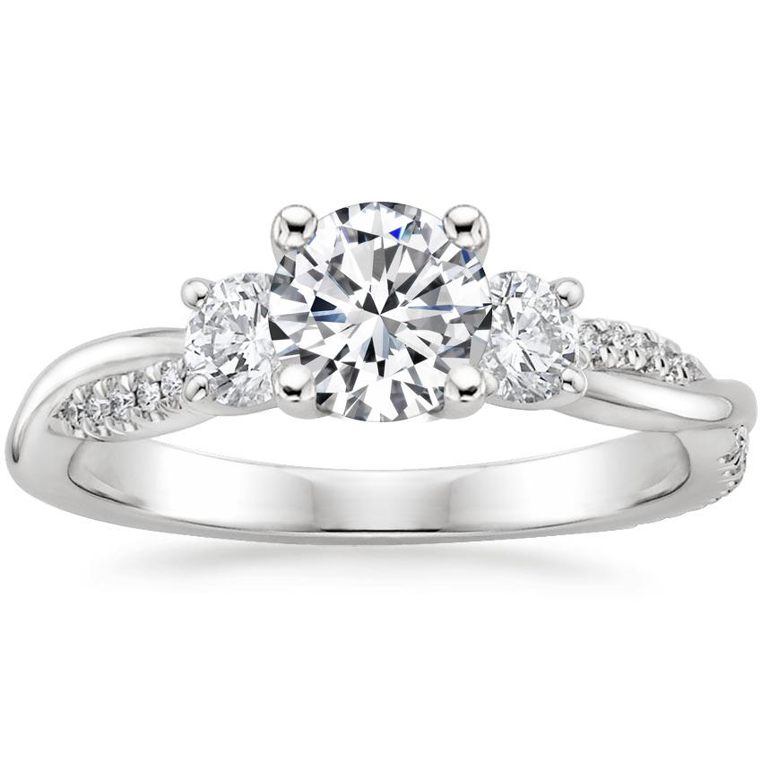 Round 18K White Gold Three Stone Petite Twisted Vine Diamond Ring (2/5 ct. tw.)