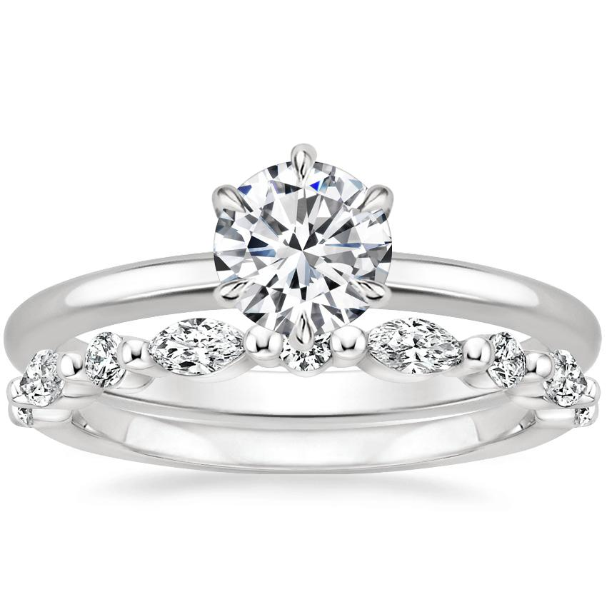 18K White Gold Esme Ring with Versailles Diamond Ring (2/5 ct. tw.)