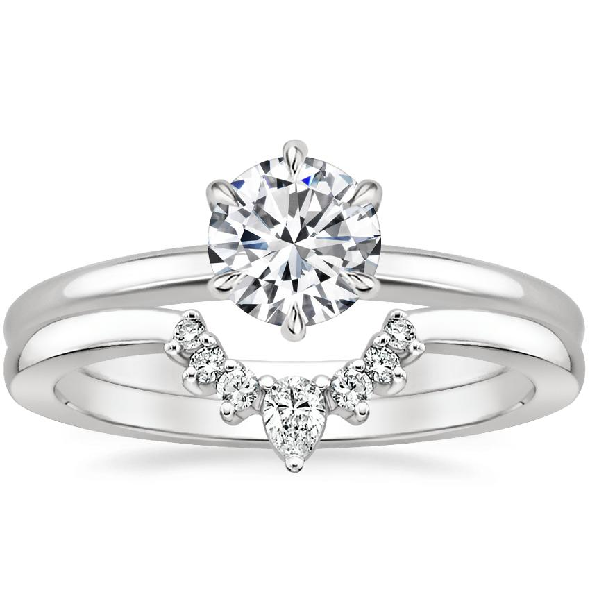 Platinum Esme Ring with Lunette Diamond Ring