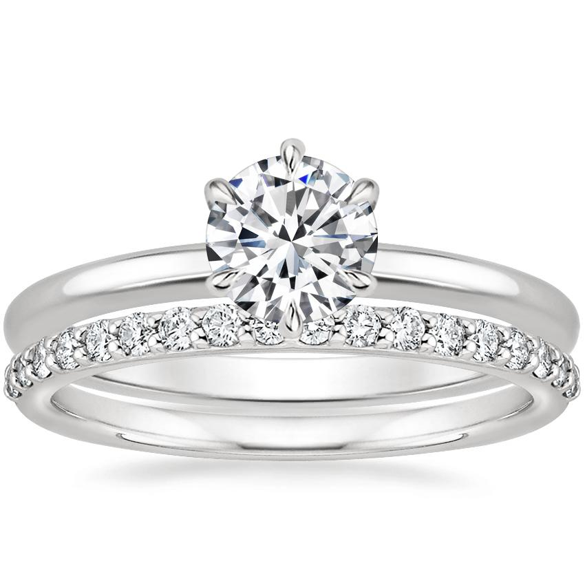 Platinum Esme Ring with Petite Shared Prong Diamond Ring (1/4 ct. tw.)