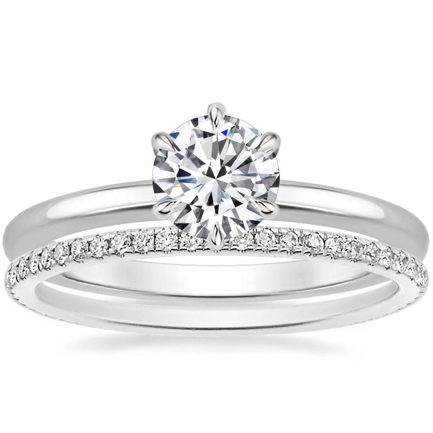 18K White Gold Esme Ring with Whisper Eternity Diamond Ring (1/4 ct. tw.)