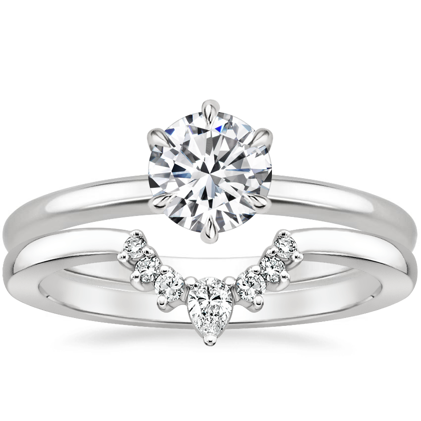 18K White Gold Esme Ring with Lunette Diamond Ring