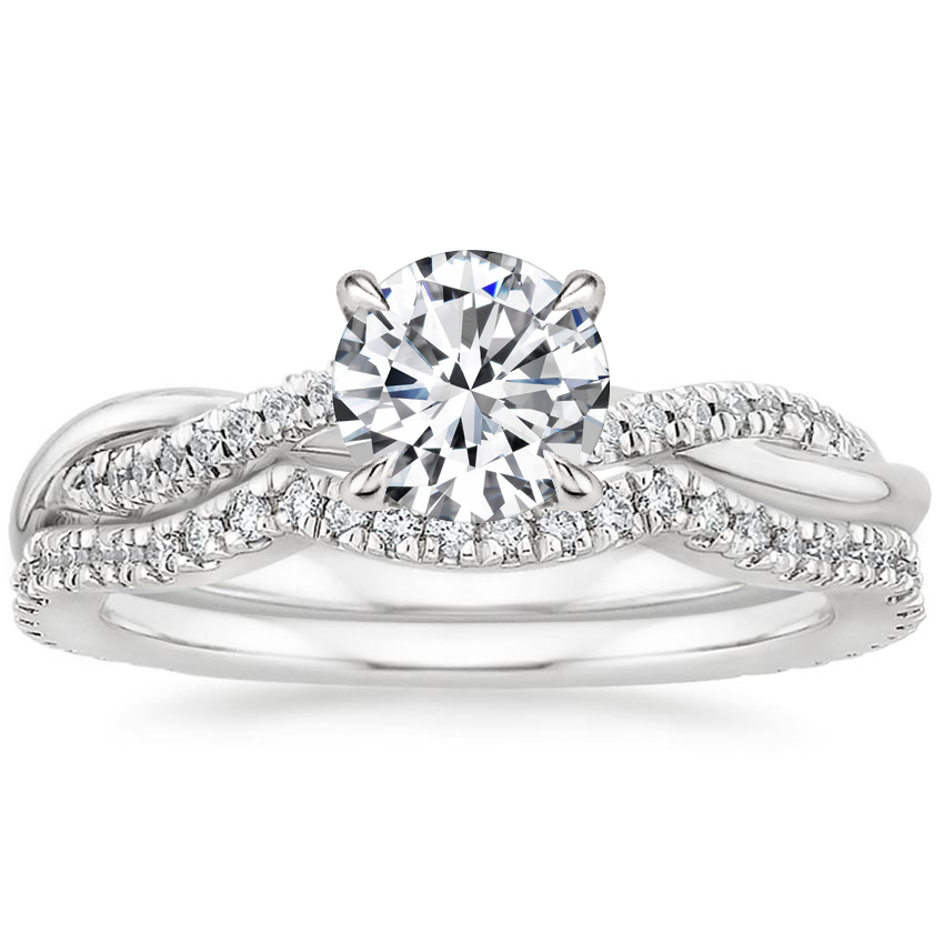 Platinum Petite Twisted Vine Contoured Diamond Bridal Set (1/3 ct. tw.)