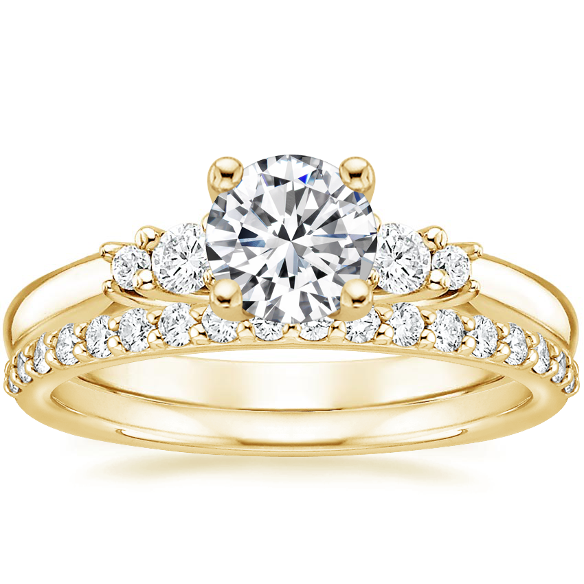18K Yellow Gold Rialto Diamond Ring with Petite Shared Prong Diamond Ring (1/4 ct. tw.)