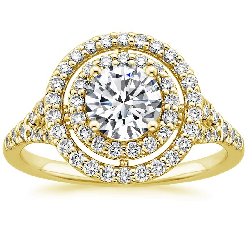 18K Yellow Gold Double Halo Diamond Ring (1/2 ct. tw.), top view