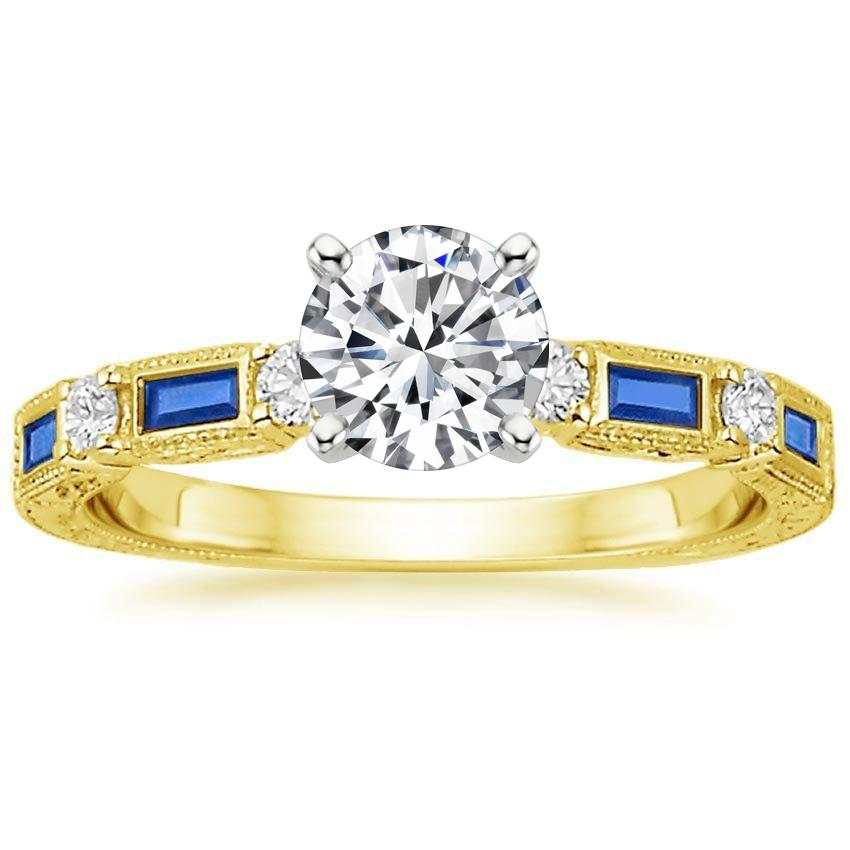 18K Yellow Gold Vintage Sapphire and Diamond Ring, top view