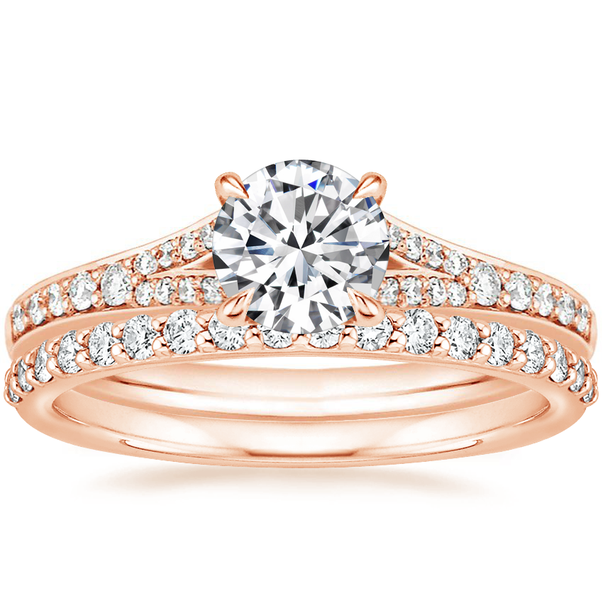 14K Rose Gold Duet Diamond Ring with Petite Shared Prong Diamond Ring (1/4 ct. tw.)