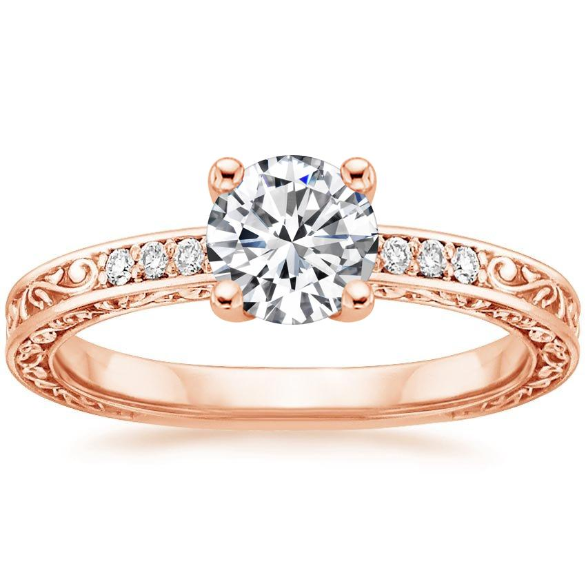 Round 14K Rose Gold Delicate Antique Scroll Diamond Ring