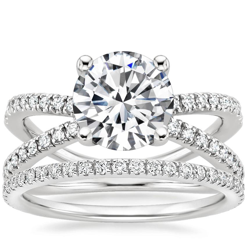 Platinum Bisou Diamond Ring (1/3 ct. tw.) with Luxe Ballad Diamond Ring (1/4 ct. tw.)