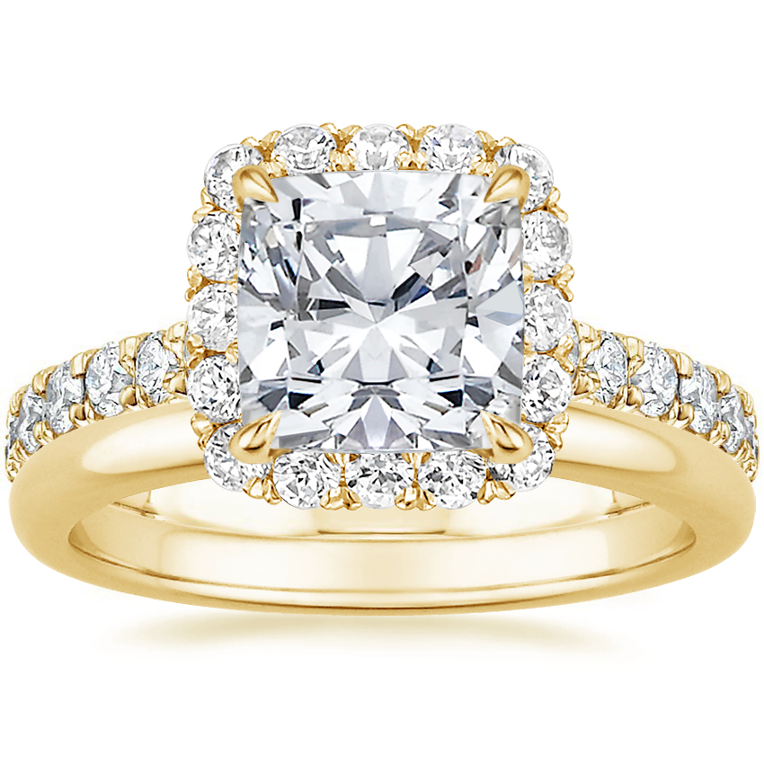 18K Yellow Gold Estelle Diamond Ring (3/4 ct. tw.) with 2mm Comfort Fit Wedding Ring