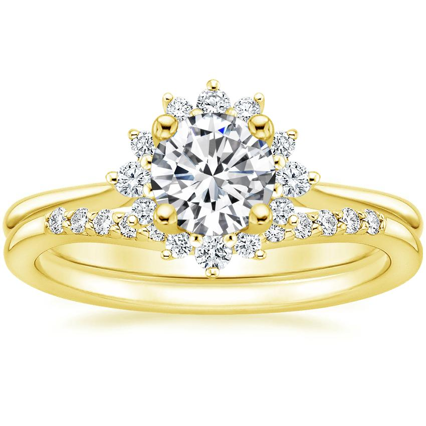18K Yellow Gold Sol Diamond Ring with Petite Curved Diamond Ring
