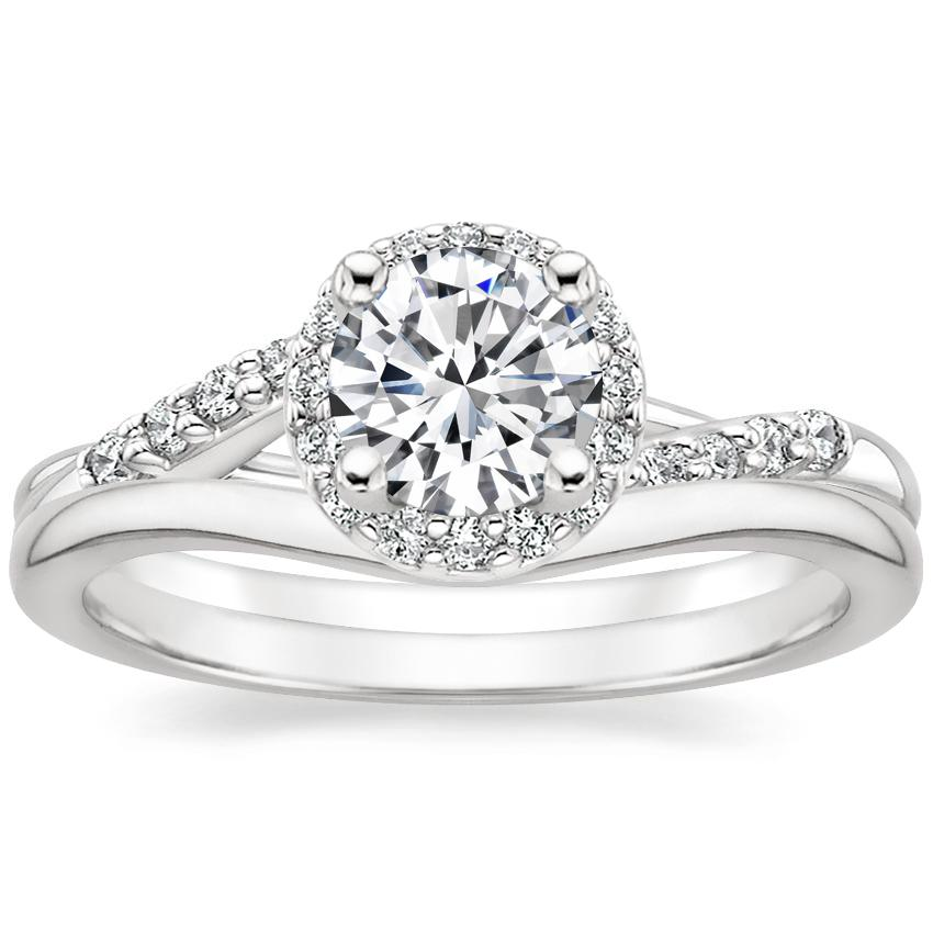 18K White Gold Chamise Halo Diamond Ring (1/5 ct. tw.) with Petite Curved Wedding Ring