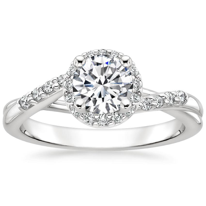 Round Split Shank Halo Diamond Ring