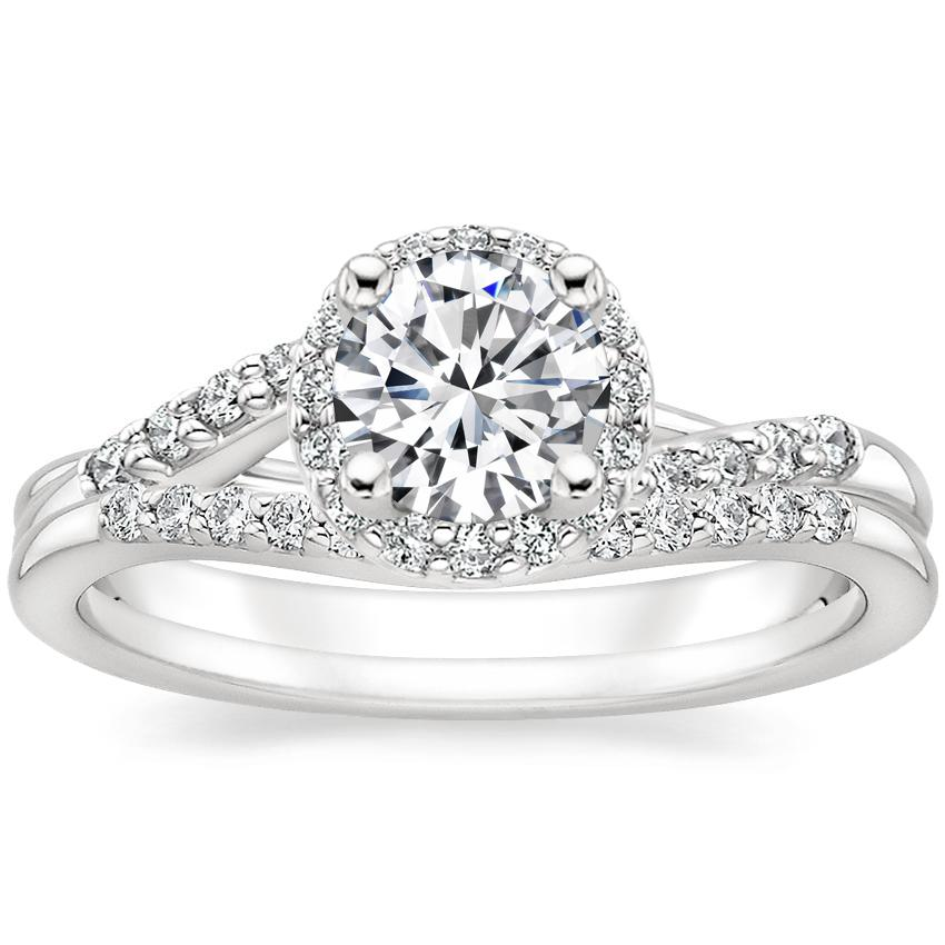18K White Gold Chamise Halo Diamond Ring (1/5 ct. tw.) with Petite Curved Diamond Ring (1/10 ct. tw.)