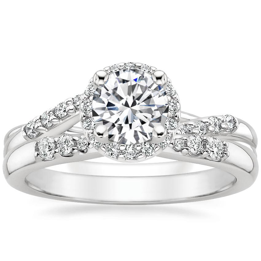 18K White Gold Chamise Halo Diamond Ring (1/5 ct. tw.) with Lark Diamond Ring