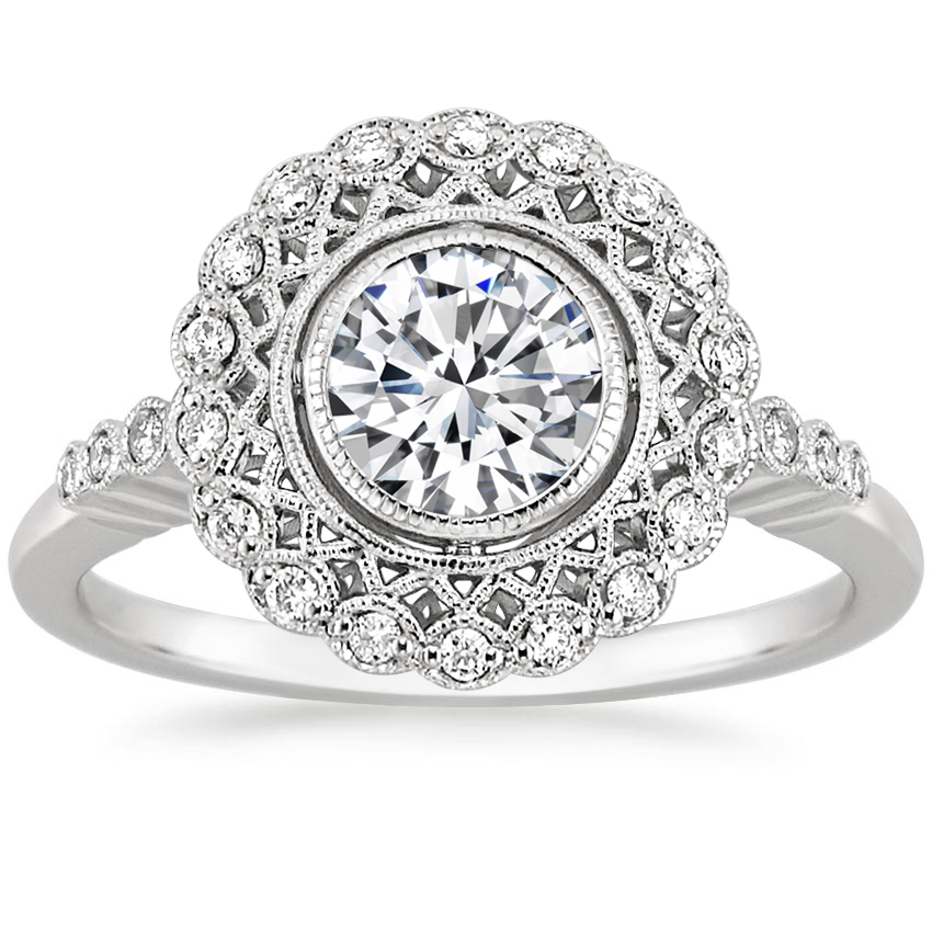 18K White Gold Alvadora Diamond Ring, top view