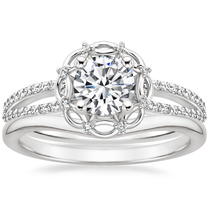 18K White Gold Isabella Diamond Ring with Petite Curved Wedding Ring