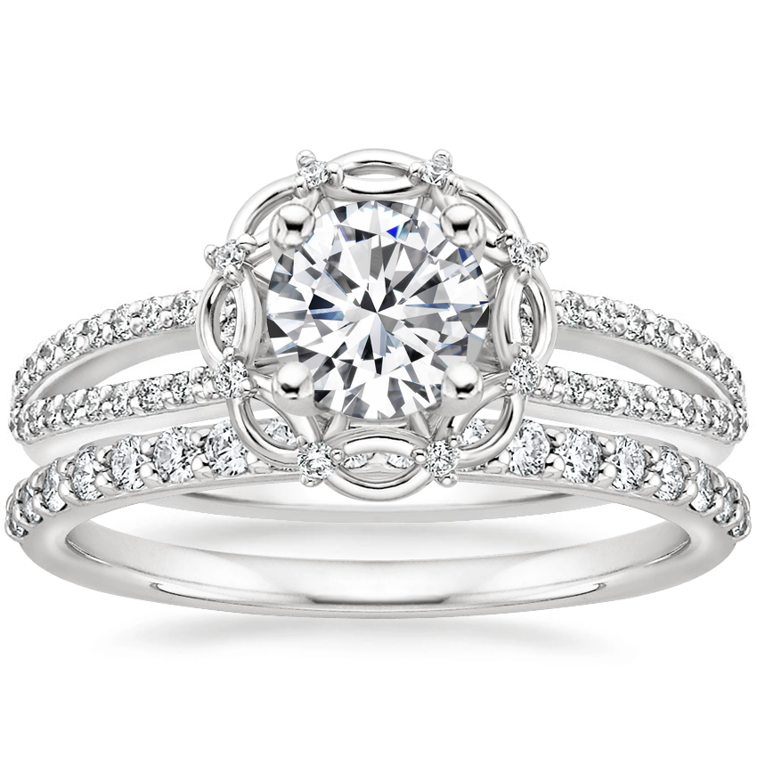 18K White Gold Isabella Diamond Ring with Petite Shared Prong Diamond Ring (1/4 ct. tw.)
