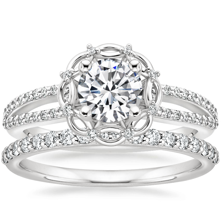 Platinum Isabella Diamond Ring with Petite Shared Prong Diamond Ring (1/4 ct. tw.)