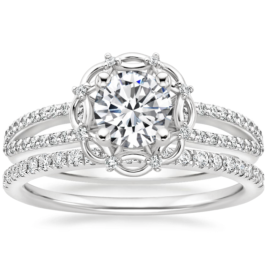 18K White Gold Isabella Diamond Ring with Ballad Diamond Ring (1/6 ct. tw.)