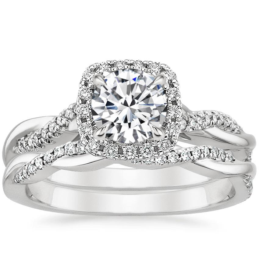 Platinum Petite Twisted Vine Halo Diamond Bridal Set (1/3 ct. tw.)