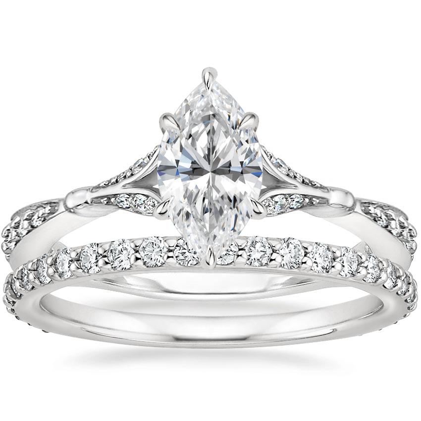 18K White Gold Zinnia Diamond Ring (1/3 ct. tw.) with Luxe Petite Shared Prong Diamond Ring (3/8 ct. tw.)