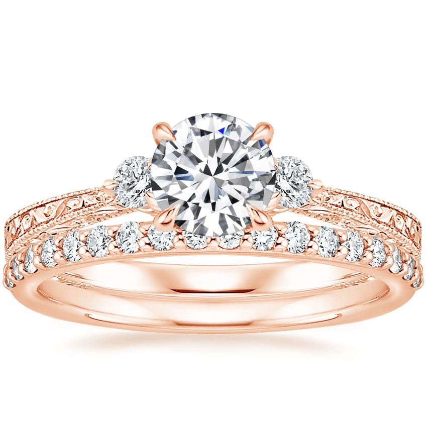 14K Rose Gold Bristol Diamond Ring with Petite Shared Prong Diamond Ring (1/4 ct. tw.)