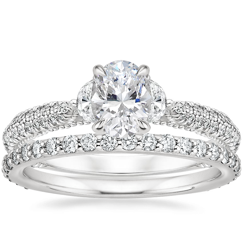 18K White Gold Rosemont Diamond Ring with Luxe Petite Shared Prong Diamond Ring (3/8 ct. tw.)