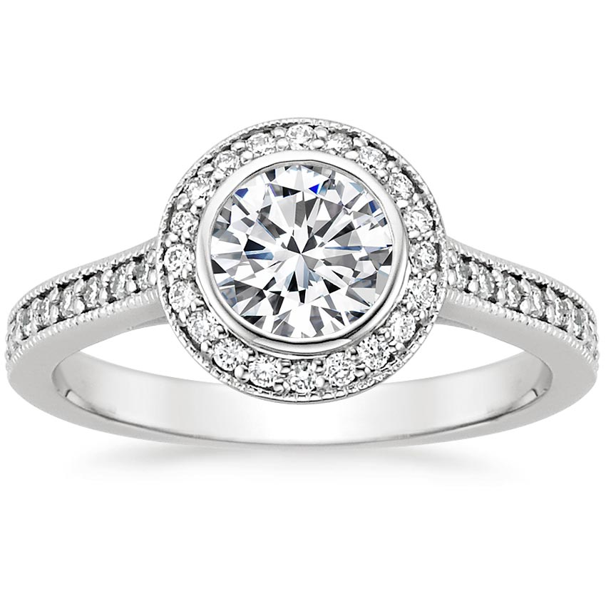 18K White Gold Round Bezel Halo Diamond Ring with Side Stones (1/3 ct. tw.), top view