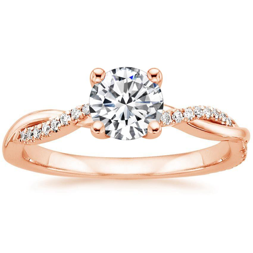 14K Rose Gold Petite Twisted Vine Diamond Ring, top view