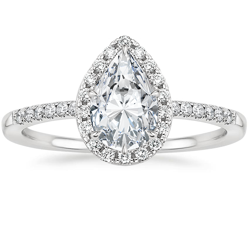 Pear Petite Halo Engagement Ring