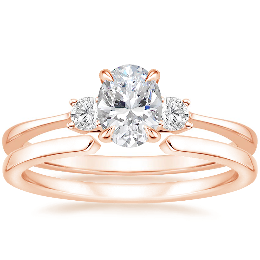 14K Rose Gold Selene Diamond Ring with Liv Ring