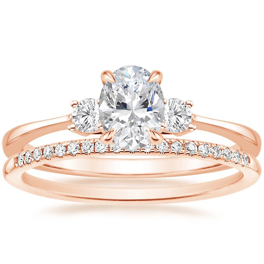 14K Rose Gold Selene Diamond Ring with Whisper Diamond Ring (1/10 ct. tw.)
