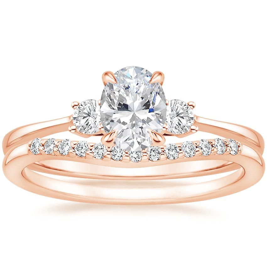 14K Rose Gold Selene Diamond Ring with Petite Curved Diamond Ring