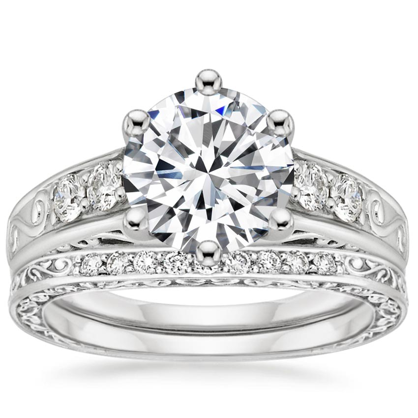 18K White Gold Art Deco Filigree Diamond Ring with Contoured Delicate Antique Scroll Ring (1/3 ct. tw.)