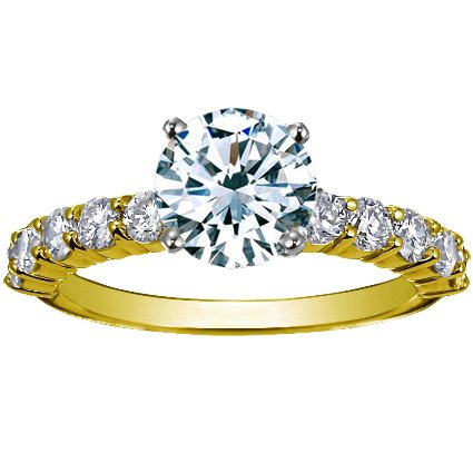18K Yellow Gold Luxe Shared Prong Diamond Ring (over 1/2 ct. tw.), top view