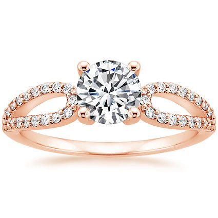14K Rose Gold Lumiere Diamond Ring, top view