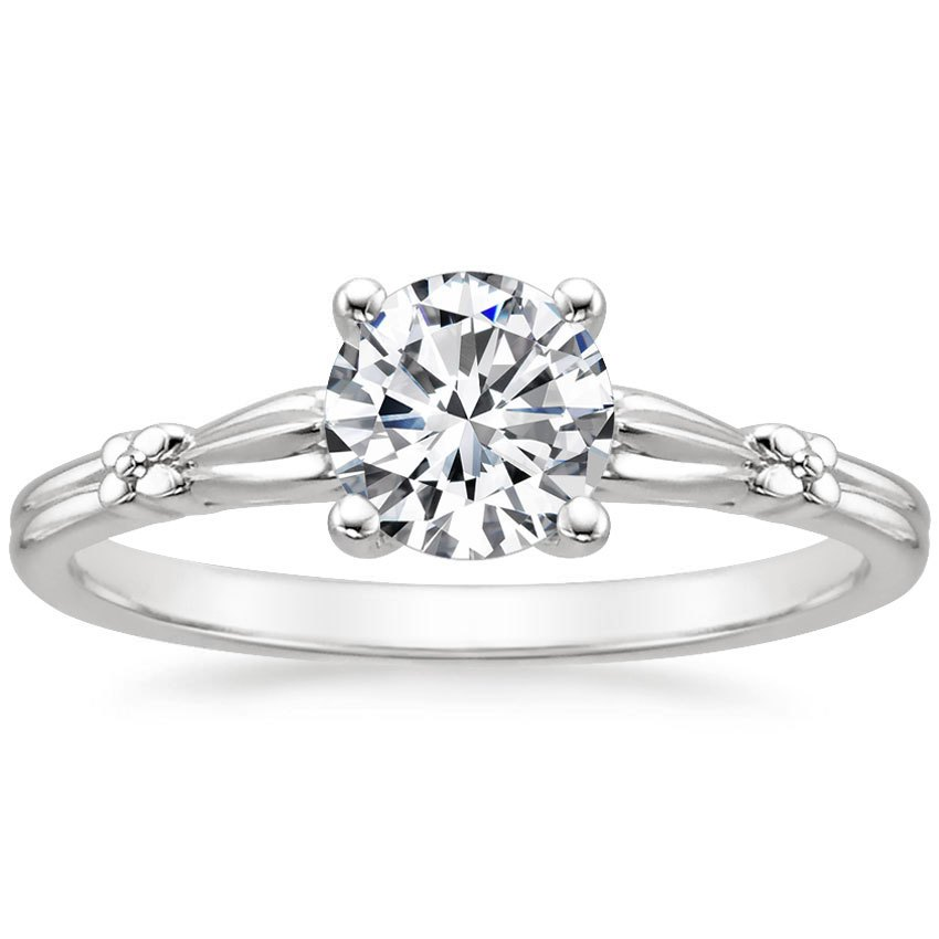 18K White Gold Primrose Ring, top view