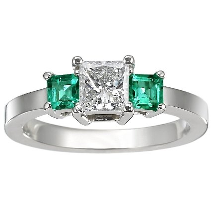 18K White Gold Three Stone Diamond and Emerald Ring, top view