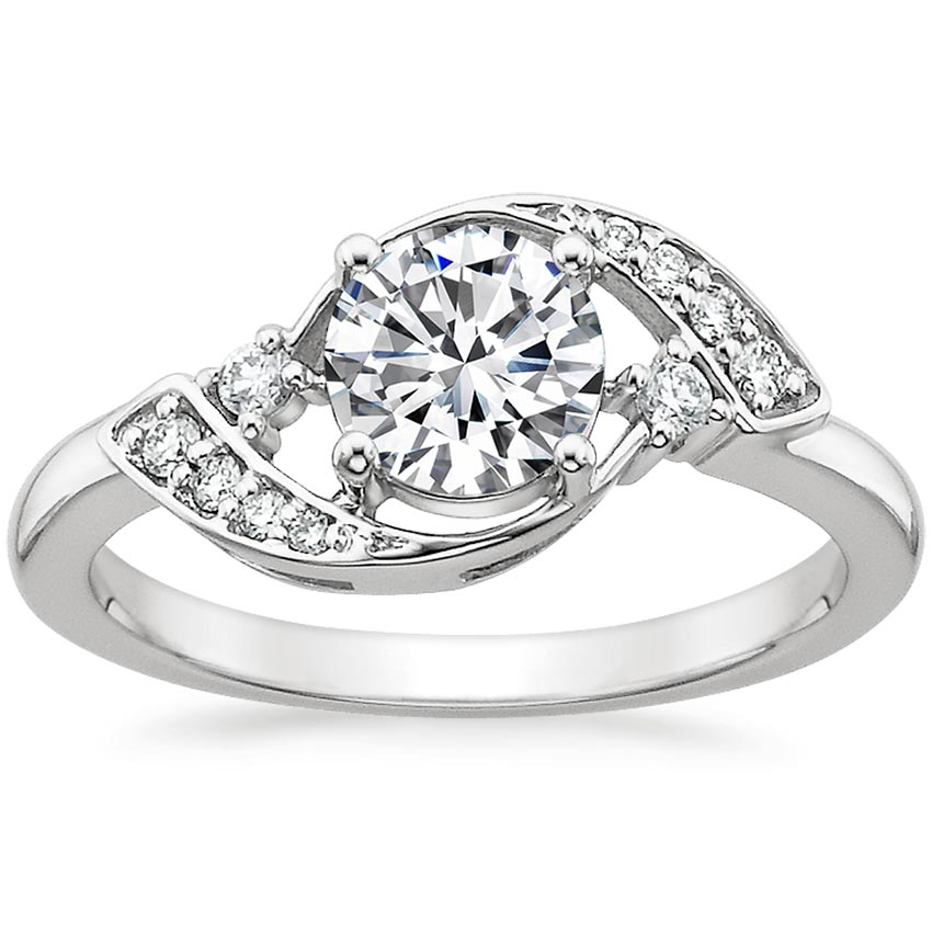 Round 18K White Gold Iris Diamond Ring