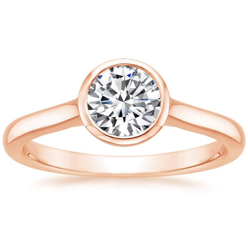 14K Rose Gold Luna Ring, top view