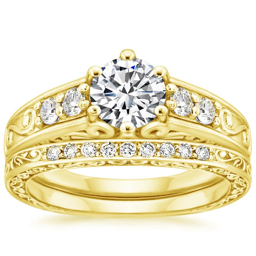 18K Yellow Gold Art Deco Filigree Diamond Ring with Contoured Delicate Antique Scroll Ring (1/3 ct. tw.), top view